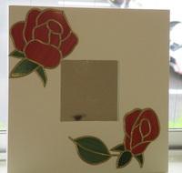 鏡に薔薇のグラスアート